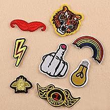 El Applique bordado tigre del dedo 8pcs / set cosen el hierro en la tela del bolso del paño de la insignia del remiendo