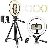 Anillo de Luz LED 10'' con Trípode y Soporte Teléfono, Sunup Aro de Luz Selfie para Fotografia/Youtube Video/Maquillaje/Móvil