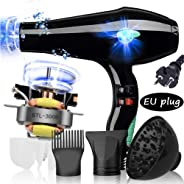 3000W Salon Hair Dryer Professional Negative Ion Blow Dryers,2 Speed 3 Heat Settings,with Collecting Nozzle+Diffuser + Comb,