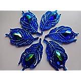 20pcs Nouveau Style de mode à coudre Cristal Bleu profond Strass Plat Forme de feuille 25* 50mm Handsewing Gem pierres