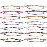 GOODCHANCEUK - 14 braccialetti dell'amicizia colorati, fatti a mano, con corda intrecciata regolabile, per donne, adolescenti