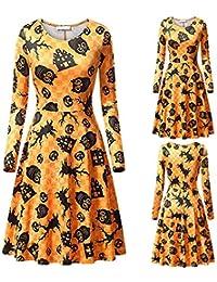 34a75f68d1 Cinnamou Vestidos Mujer Halloween de Manga Largas Ropa de Disfraz Flores Estampado  Traje Mujer Elegante Fiesta