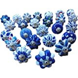Knobsworld - 25pomelli in ceramica, blu e bianchi, per manopole cassetti, porte, armadi, fantasie varie indiane