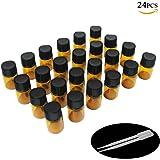 Yizhao Flacon Echantillon Huile Essentielle Vides 2ML, Fiole en Verre Amber avec [Réducteurs d'Orifice], pour Massage, Aromat