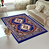 HOME ELITE Blue Colored Traditional Design Jute Filling Sheet Carpet (5 x7 feet)
