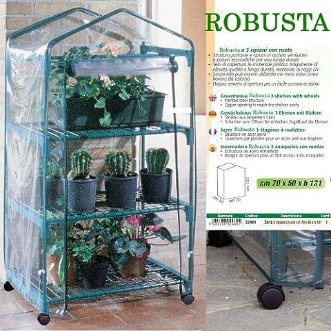 Betty Garden Serra NEW da Terrazzo a 3 Ripiani Robusta con Ruote - Serre per il Terrazzo
