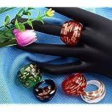 Ecloud Shop® 12 X Murano en Murano Verre 17-19 mm anneaux 4 couleurs FASHION