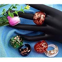 Ecloud Shop 12 X Murano Glass 17-19m m anillos de banda de 4 colores de moda