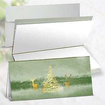 Weihnachtsgrüße Jagdlich.5 Stück Weihnachtskarten Exklusiv Hirsch Jagd Edel Gold Prägung Grün Jagdlich Weihnachten Karten Mit Kuvert Ohne Text Weihnachtlich Klappkarte