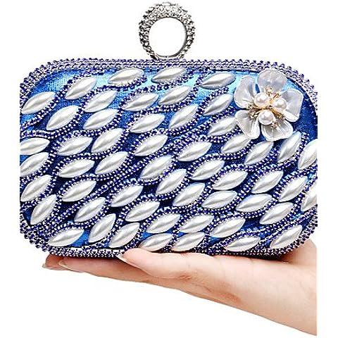 Da Wu Jia Ladies borsetta di alta qualità di lusso per donna il lusso elegante perla fatti a mano Diamanti Il Fiore Borsa serale , oro - Navy Blue Slittamento