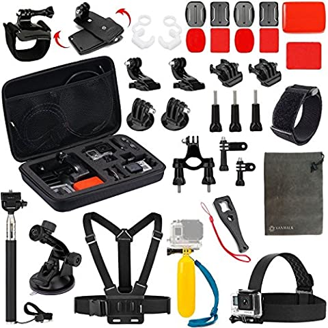 Vanwalk Bundel Kit de Accesorios de Deportes para Camara Gopro Hd Hero 5 4 Sesión, Hero3+, Hero3, Hero2 & Hero+, SJcam SJ4000 SJ5000 SJ6000 SJ7000, Xiaomi Yi, DBPOWER - (18 en 1)