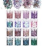 URAQT 16-delige dikke glitter schoonheidsset voor lichaam, wangen en haar, festival en feest, gezicht en nagels, schoonheidsm