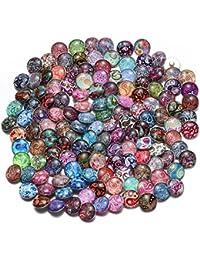 Soleebee 50 Pcs Mixte Boutons Pression au Hasarden Aluminium Verre Rond Les Boutons Bijoux charmes DE 18 mm (Fleur Cashew)
