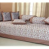 HomeStore-Yashika Emporium Cotton Bedsheet With 5 Cushion And 2 Bolster Covers, 90x16 Inches(Brown) - Set Of 8