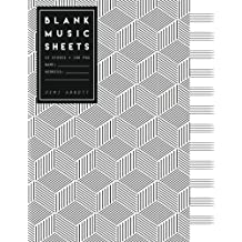"""Blank Music Sheets: Black & White Geometric Design - Song Writing Journals for Music Lovers (Large Journal 8.5""""x11"""")"""
