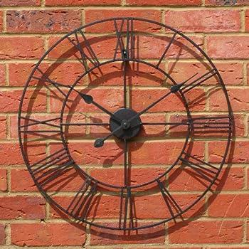 34cm Roman Numeral Clock Outdoor Garden Clock Gardman