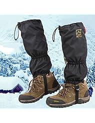 Nieve alta de la pierna polainas JTENG doble sellado polainas de la pierna impermeable con cremallera de cierre de velcro TPU cincha de esquí Escalada Caza Caminar con raquetas de nieve Snowboard alpinismo Equipo de hielo