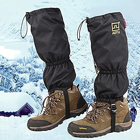 Nieve alta de la pierna polainas JTENG doble sellado polainas de la pierna impermeable con cremallera de cierre de velcro TPU cincha de esquí Escalada Caza Caminar con raquetas de nieve Snowboard