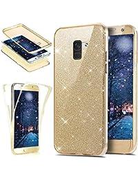 ikasus Funda transparente de silicona TPU con purpurina para Samsung Galaxy A8 2018 Plus, protección completa para tu teléfono, ultrafina, parte delantera transparente
