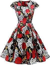 HomRain Damen 50er Vintage Retro Kleid Party Kurzarm Rockabilly Cocktail  Abendkleider b676e22144
