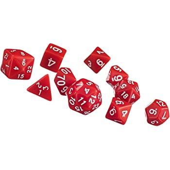 10pcs / Dés Multi-faces Définies Jeux TRPG Dungeons & Dragons D4-D30 Rouge