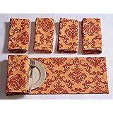 Algodón Servilletas Conjunto de 6; Burnt Imprimir Naranja Marrón floral; Tabla sábanas Primavera Decoración