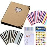 Forusky 56 Pages DIY Photo Album, Wedding Guest Book, Anniversary Book With 10 Color Pens, 28 Sheets Emoji Sticker, 10 Sheets Corner Stickers For Instax Mini, Wide 300, Wide 210 Films - Kraft