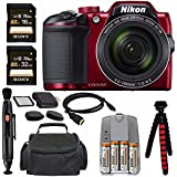 """Nikon COOLPIX B500 Digital Camera (Red) + NiMH Batteries And Charger Set + Sony 16GB SDHC Card + Sony 32GB SDHC Card + Memory Card Reader + Tripod + 6"""" HDMI To Micro HDMI Cable Bundle"""