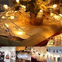Gledto 20 LED Guirlande-clip lumineuse à piles 6H Timing Economiser Energie Lumière Blanche chaude Photo/Note Clips Décotation Magnifique pour Noël décorer Mur de photo Chambre Maison Couloir Jardin Pelouse