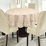 E-Retailer Stylish Waterproof 6 Seater Round Table Cover With White Lace (72 Inch Diameter)