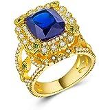 CHARHODEN Women'S Gold Plated Dark Blue Zircon Ring Size 7