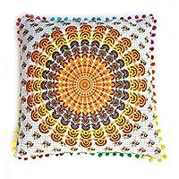 """Rastogi artesanías Multi Color Pom Pom cojín cubre sofá fundas de almohada carcasa única mano bolck impreso elefante Mandala diseño 16""""x 16"""""""