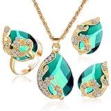 Liquidazione offerte, Fittingran Collana + Orecchini + Anello Set di Gioielli Donna Stile Misto Bohemia Colore Bavaglino Coll