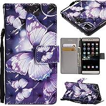 YKTO Funda Huawei P8 Case 2015 5.2 Pulgadas Caso PU Leather Shock Absorción Billetera Carcasa Cierre