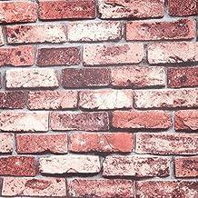 Hanmero Retro 3d, colore rosso muro di mattoni carta da parati in vinile salotto TV sfondo decorazione casa 0.53*