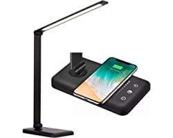 Lampada da scrivania a LED HOXIYA con ricarica wireless e USB, 5 modalità di temperatura del colore, oscuramento, controllo t
