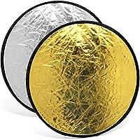 igadgitz u554560cm 2en 1portable pliable ronde Lumière Reflecteur Diffuseur Studio Photo avec étui–Argent & Blanc