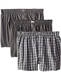 62ad5e9d0a72 Calvin Klein Men's Underwear 3 Pack Cotton Classic Woven Boxers Shorts,  Matthew Stripe/Grey