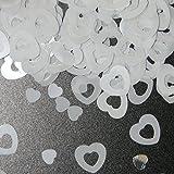 15g Tischkonfetti Herz Weiß Hochzeit