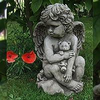 Cherubino con orsetto a mano in pietra Angelo Decorazione da giardino/Statua/Scultura