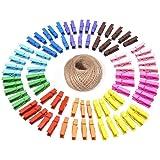G2PLUS 100 Madera Pinzas, Colore Pinzas para la Ropa, con 30 m de Cuerda de Yute, para Fotos Manualidades Decoración Bricolaj