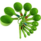 INKULTURE Plastic Measuring Cups and Spoon Set with Ring Holder, 12 Piece Set, Green