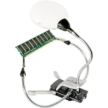 Bresser Dritte Hand LED-Bastellupe 2x/4 x 88mm vielseitige Lupe mit flexiblen Greifarmen und LED Beleuchtung inklusive Klemm-/Standfuß zur Befestigung