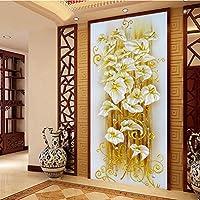 Hermosa decoración de la sala de estar en casa 5D Diamantes de moda Chapados en lirio Pintura de flor Kits de punto de cruz, oro