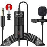 SYNCO Lav S6 Microfono-Lavalier-Microfono-a-Clip Condensatore Omnidirezionale 6 Metri / 19,7 Piedi, Compatibile per Fotocamer