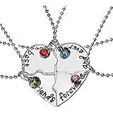 Collana con ciondolo a forma di cuore suddiviso in 4 parti, per i migliori amici di sempre.