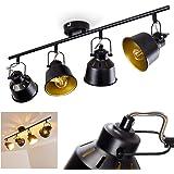 Plafonnier Safari en métal noir et or, 4 spots de plafond pivotants pour ampoules E14 max, 40 Watt, compatible ampoules LED