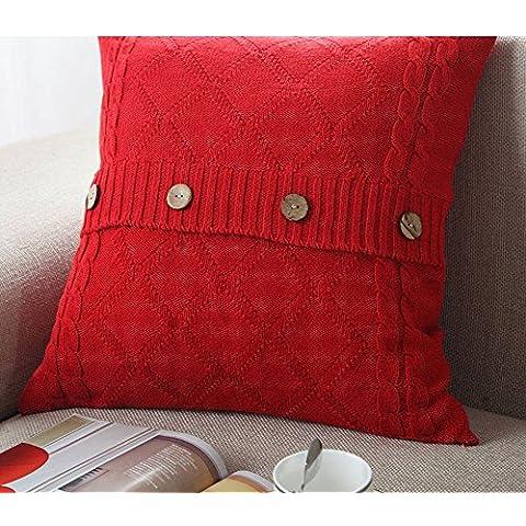 Più colore stile semplice divano cuscino/Tinta unita in cotone lavorato a maglia guanciale/semplice pulsante stile-F 45x45cm(18x18inch)VersionA