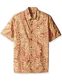 Kahala Men's Short Sleeve Washed Poplin Hale Kahiki Hawaiian Shirt