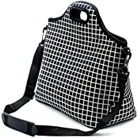 Case Wonder Lunch Bags, Bolsa de almuerzo Neoprene, Bolsa de almuerzo grande aislada, Caja de almuerzo lavable reutilizable para hombres / mujeres / Picnic / Trabajo / Escuela (L, Rejilla negra)